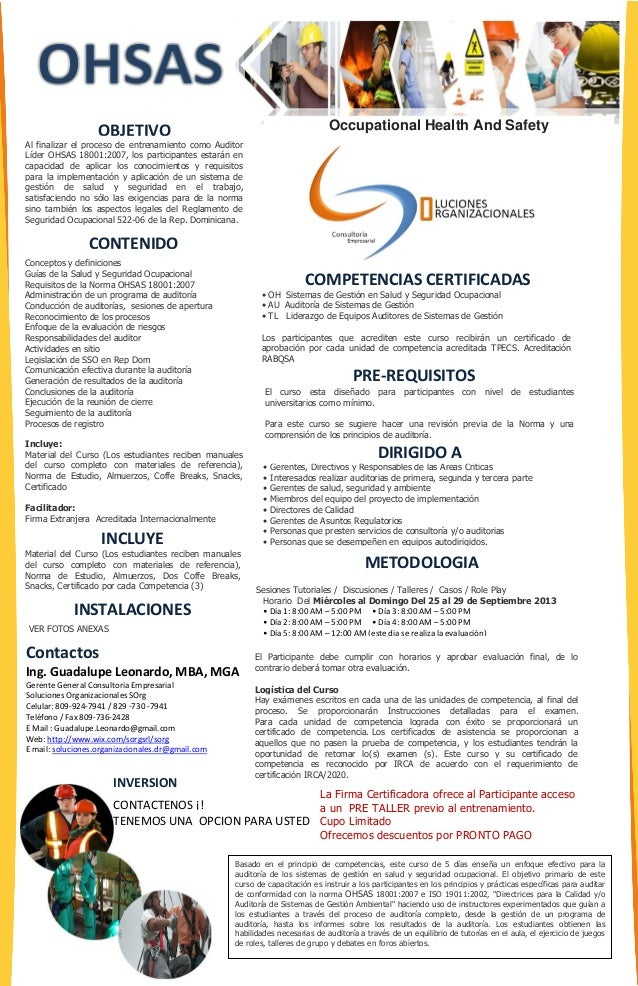 Occupational Health And Safety PRE-REQUISITOS METODOLOGIA INVERSION Contactos Ing. Guadalupe Leonardo, MBA, MGA Gerente Ge...