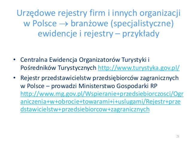 Urzędowe rejestry firm i innych organizacji w Polsce  branżowe (specjalistyczne) ewidencje i rejestry – przykłady • Centr...