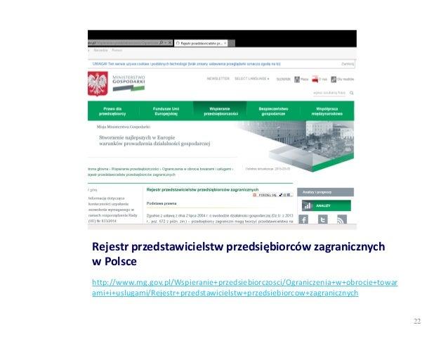 Rejestr przedstawicielstw przedsiębiorców zagranicznych w Polsce http://www.mg.gov.pl/Wspieranie+przedsiebiorczosci/Ograni...