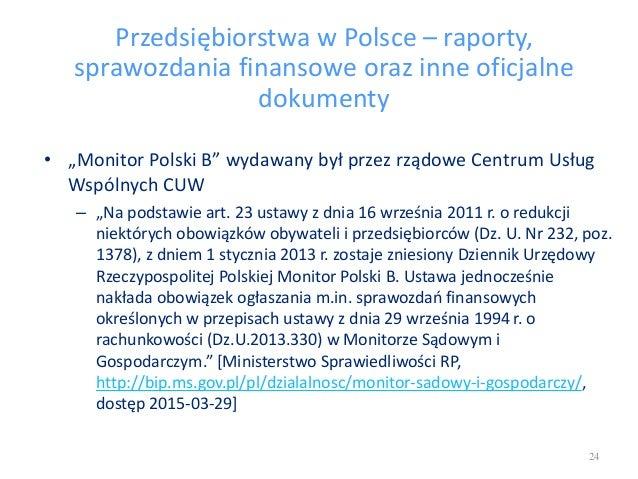 """Przedsiębiorstwa w Polsce – raporty, sprawozdania finansowe oraz inne oficjalne dokumenty • """"Monitor Polski B"""" wydawany by..."""