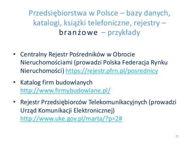 Przedsiębiorstwa w Polsce – bazy danych, katalogi, książki telefoniczne, rejestry – branżowe – przykłady • Centralny Rejes...