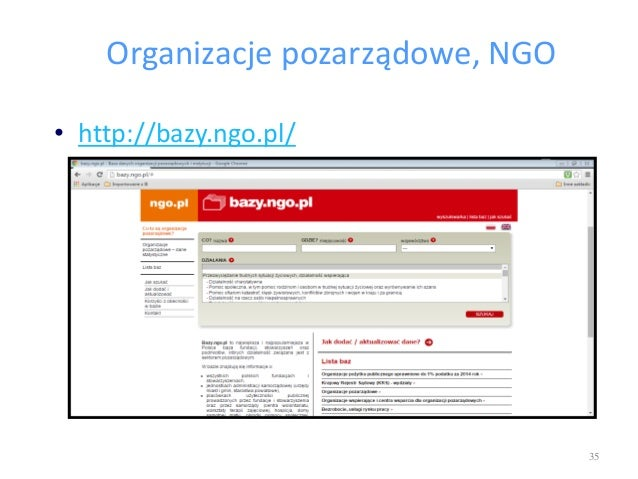 Organizacje pozarządowe, NGO • http://bazy.ngo.pl/ 35