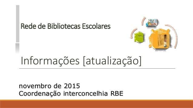 Rede de Bibliotecas Escolares Informações [atualização] novembro de 2015 Coordenação interconcelhia RBE