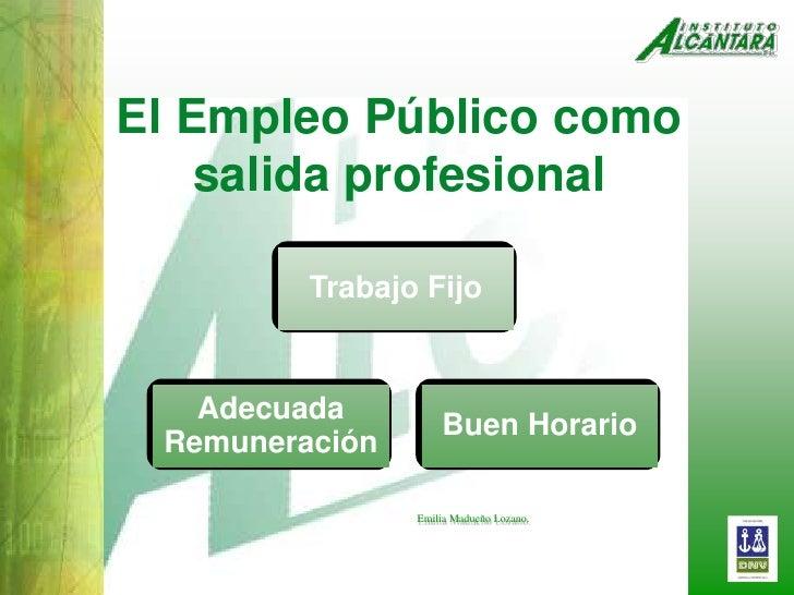 El Empleo Público como salida profesional<br />Trabajo Fijo<br />AdecuadaRemuneración<br />Buen Horario<br />