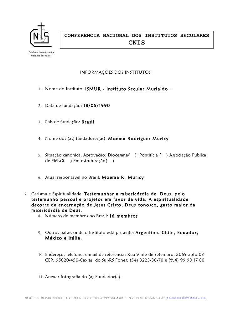 CONFERÊNCIA NACIONAL DOS INSTITUTOS SECULARES                                                                CNIS  Conferê...