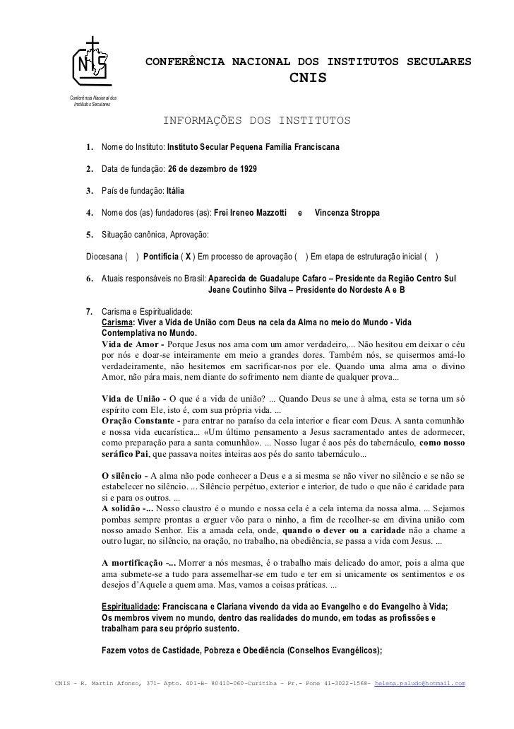 CONFERÊNCIA NACIONAL DOS INSTITUTOS SECULARES                                                                        CNIS ...