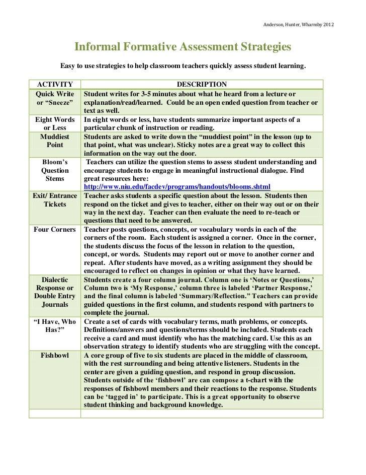 informal writing assessment sample