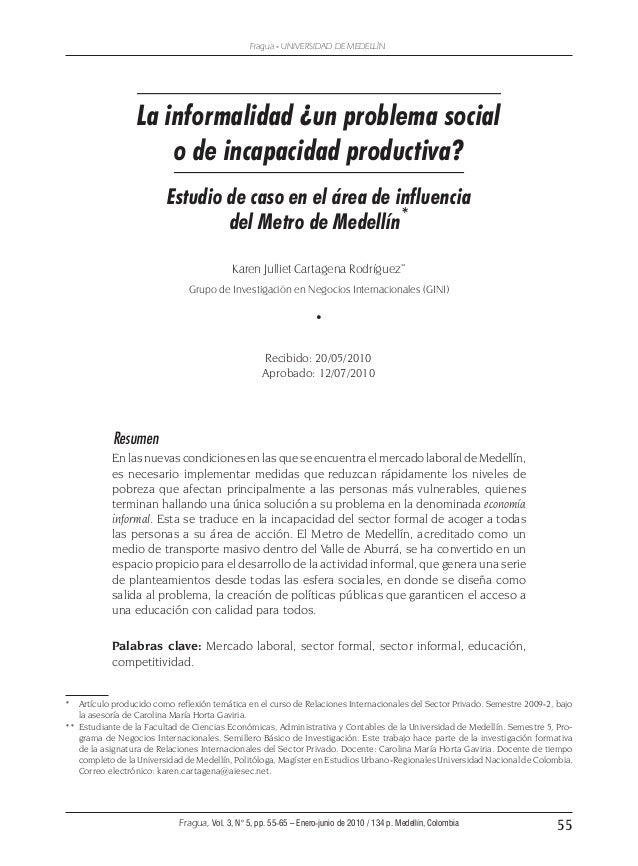 55 Fragua - UNIVERSIDAD DE MEDELLÍN Fragua, Vol. 3, N° 5, pp. 55-65 – Enero-junio de 2010 / 134 p. Medellín, Colombia La i...