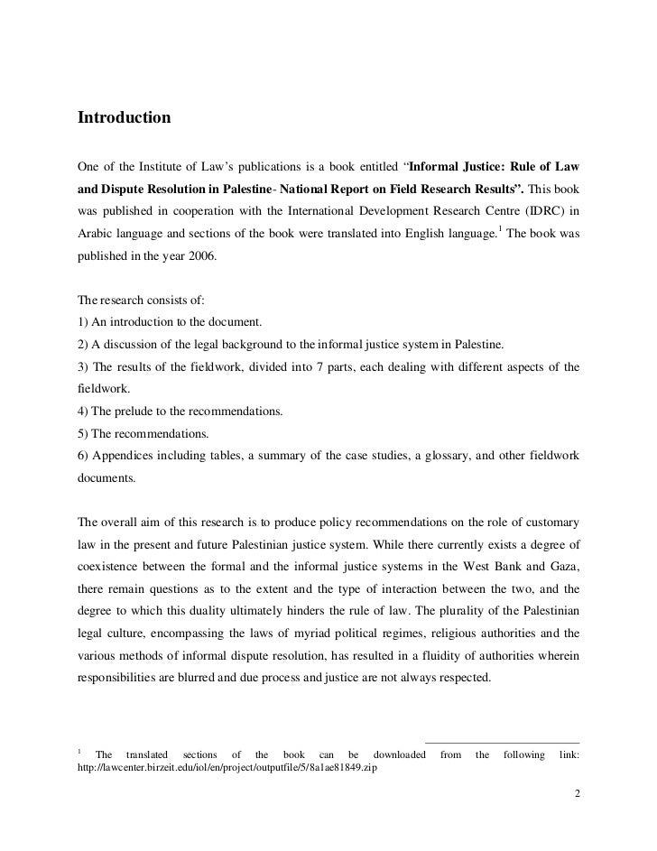 """IntroductionOne of the Institute of Law's publications is a book entitled """"Informal Justice: Rule of Lawand Dispute Resolu..."""