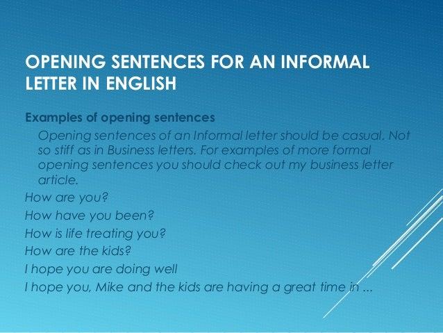 Informal letter m van eijk opening sentences for an informal letter in english examples stopboris Images