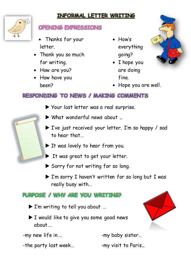 informal letter writing opening expressions thanks for your letter