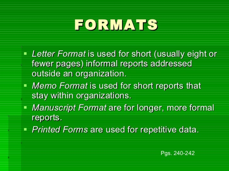 Informal reports formats spiritdancerdesigns Image collections