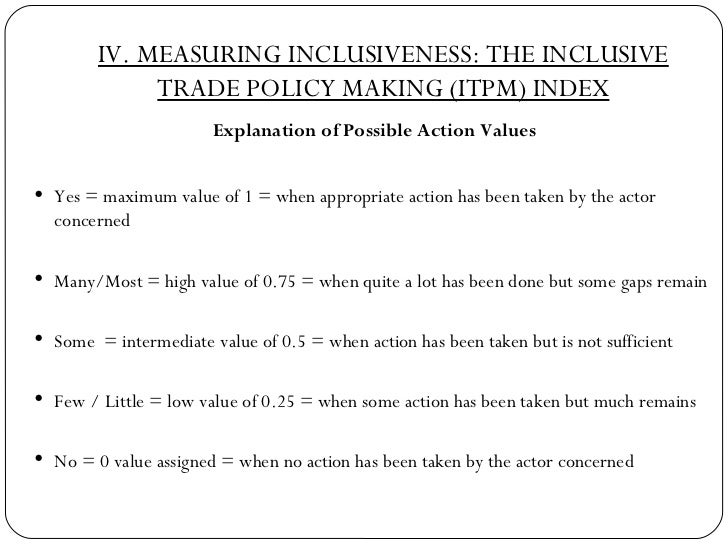 IV. MEASURING INCLUSIVENESS: THE INCLUSIVE TRADE POLICY MAKING (ITPM) INDEX <ul><li>Explanation of Possible Action Values ...