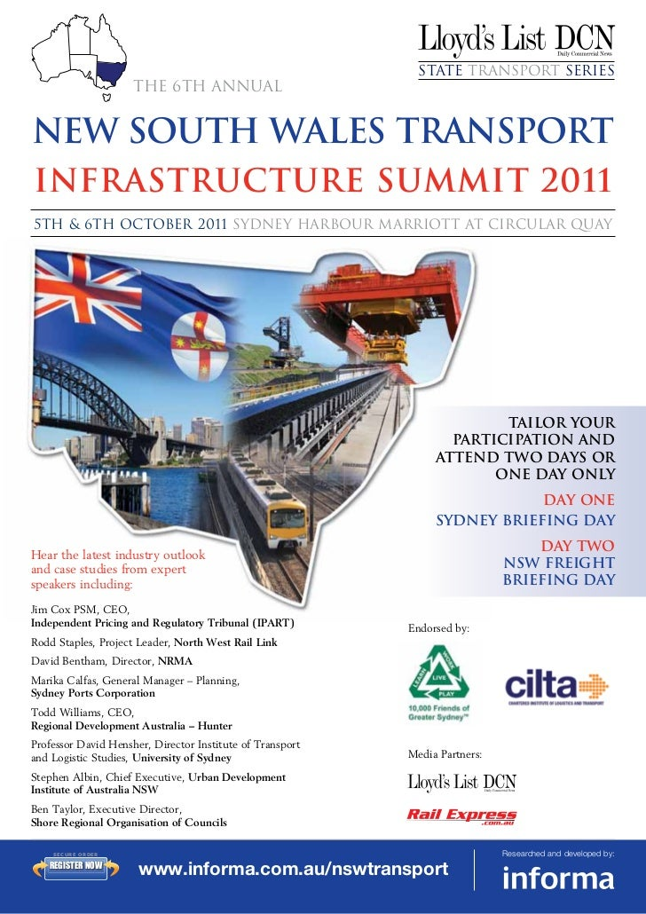 State Transport Series                          The 6th annualnew south wales TransportInfrastructure Summit 20115th & 6th...
