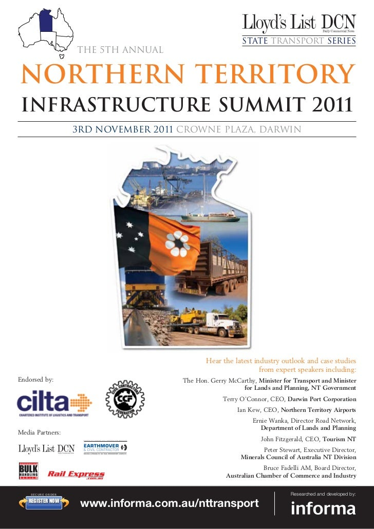 State Transport Series                          The 5th annualNorthern TerritoryInfrastructure Summit 2011                ...