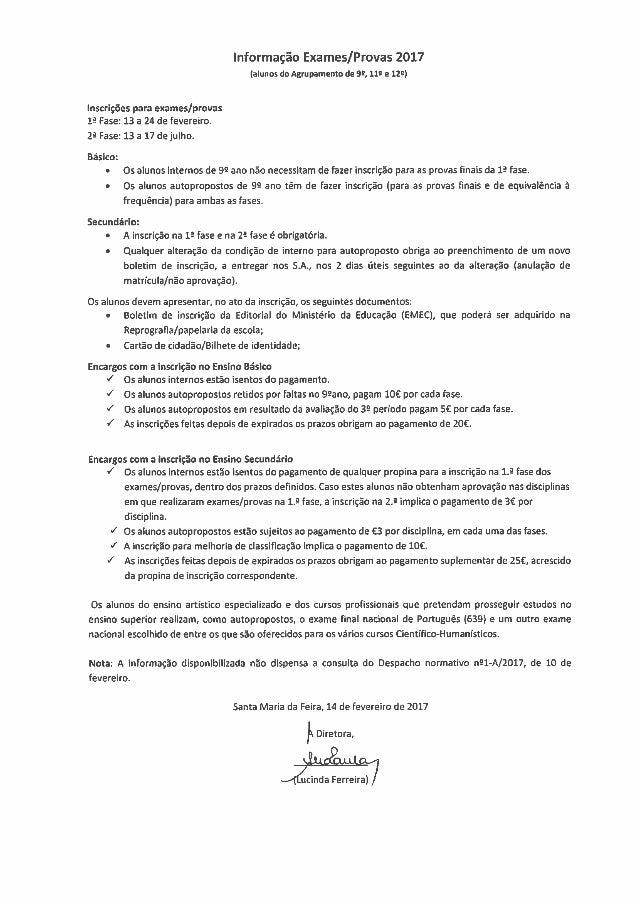 Informação exames provas 2017