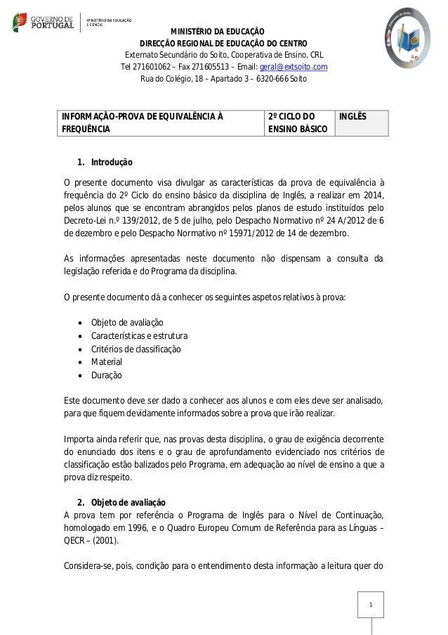 MINISTÉRIO DA EDUCAÇÃO DIRECÇÃO REGIONAL DE EDUCAÇÃO DO CENTRO Externato Secundário do Soito, Cooperativa de Ensino, CRL T...