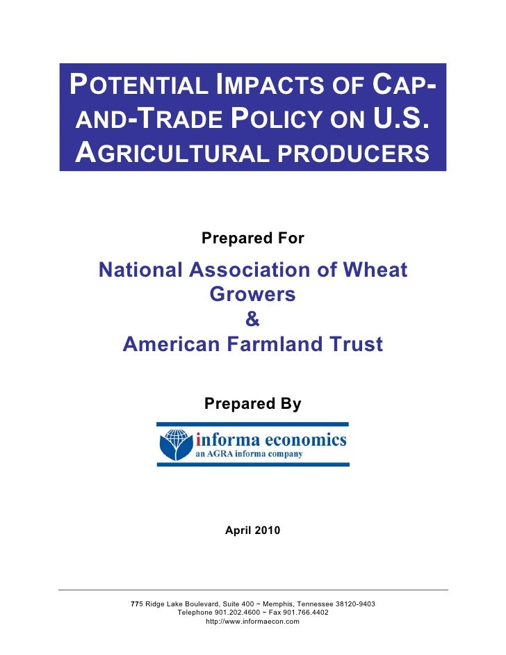 POTENTIAL IMPACTS OF CAP- AND-TRADE POLICY ON U.S. AGRICULTURAL PRODUCERS                         Prepared For   National ...