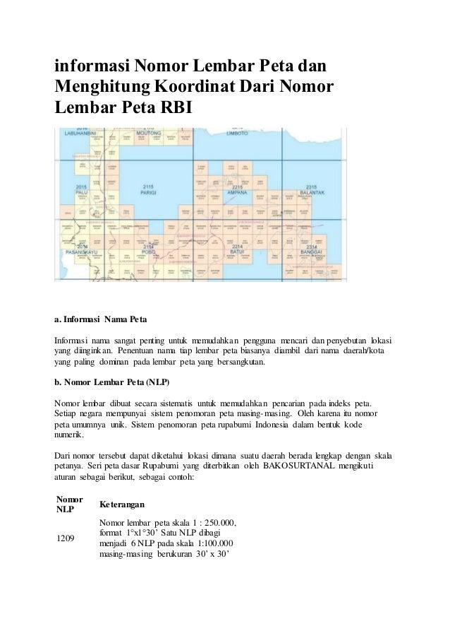 Informasi Nomor Lembar Peta Dan Menghitung Koordinat Dari Nomor Lemba