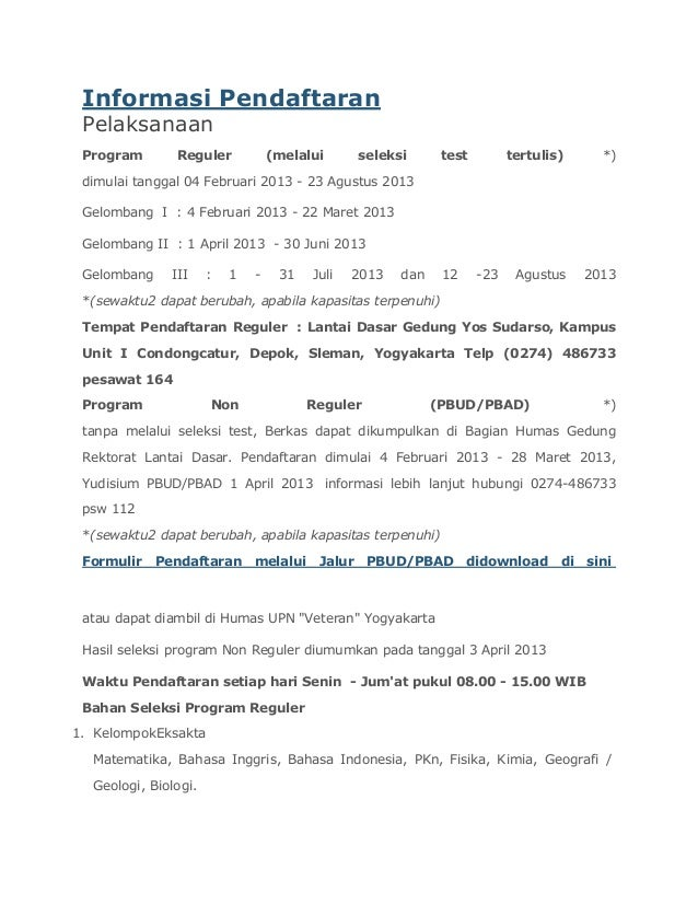 Informasi Pendaftaran Pelaksanaan Program       Reguler            (melalui       seleksi      test         tertulis)     ...