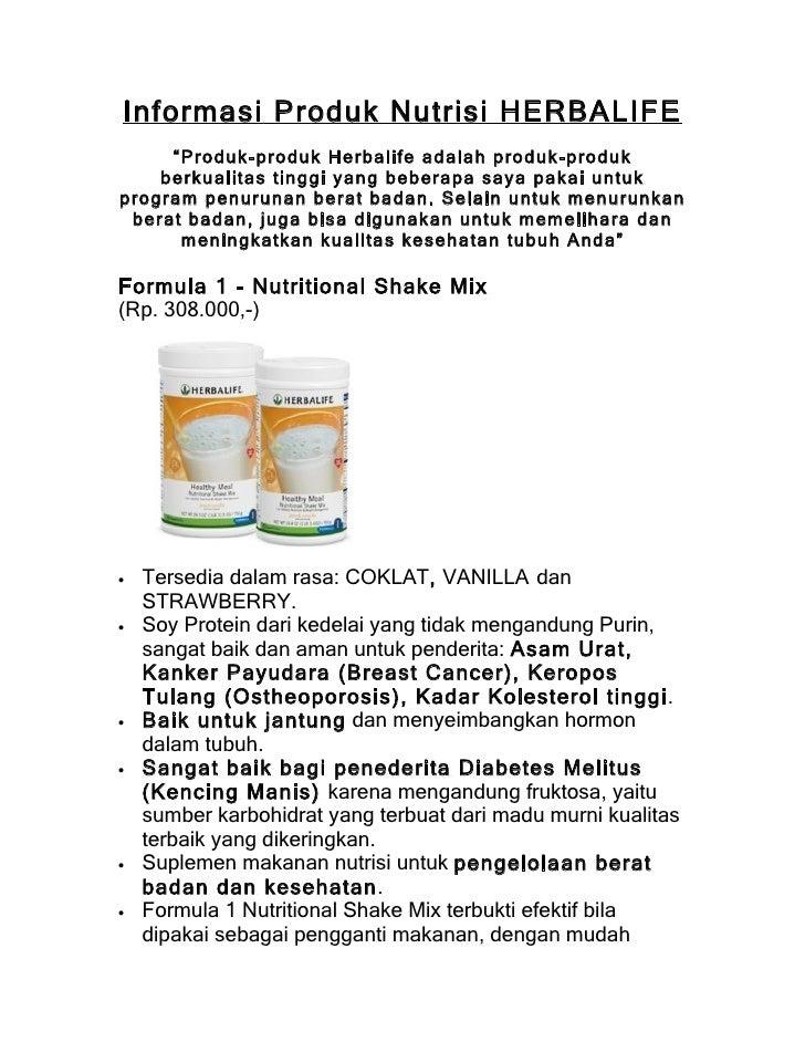 """Informasi Produk Nutrisi HERBALIFE      """"Produk-produk Herbalife adalah produk-produk     berkualitas tinggi yang beberapa..."""