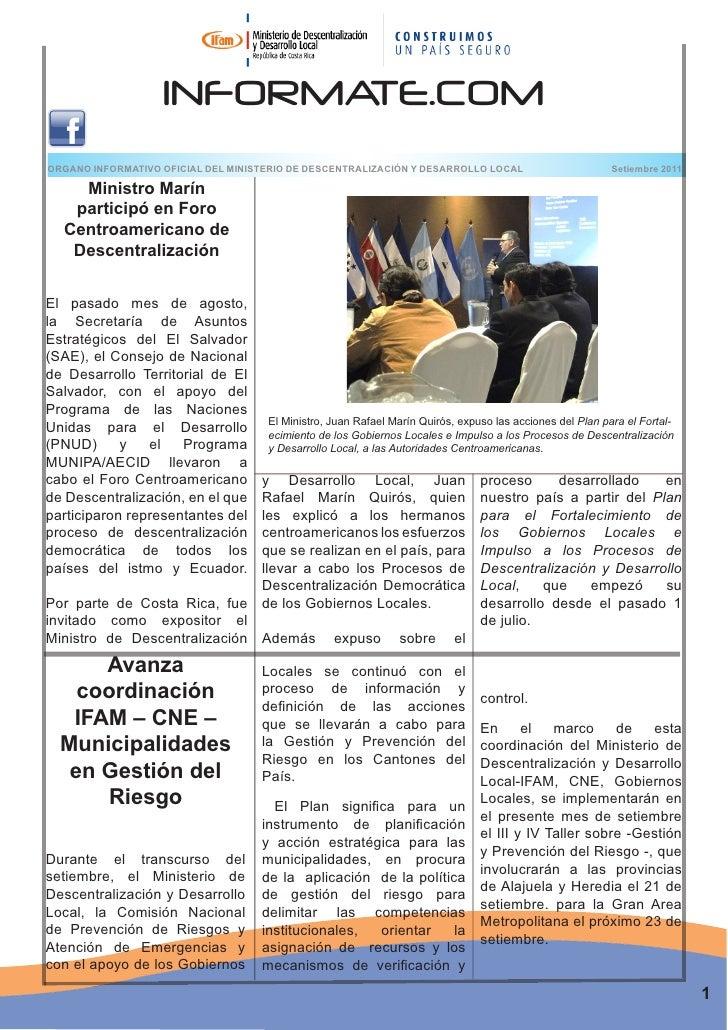 INFORMATE.COMORGANO INFORMATIVO OFICIAL DEL MINISTERIO DE DESCENTRALIZACIÓN Y DESARROLLO LOCAL                          Se...