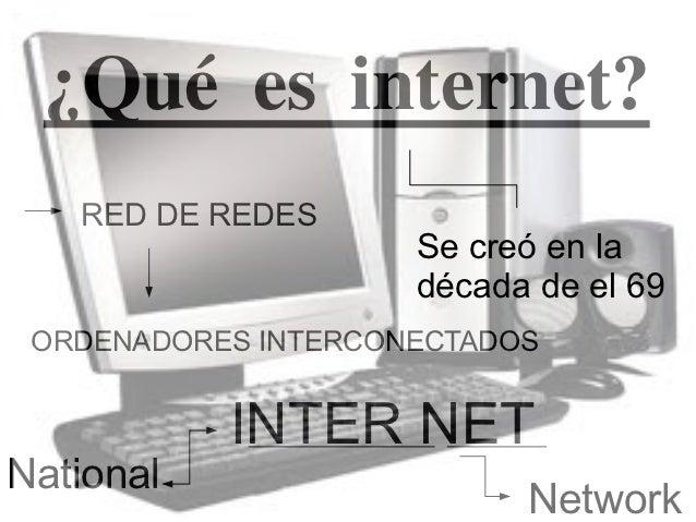 ¿Qué es internet?   RED DE REDES                     Se creó en la                     década de el 69 ORDENADORES INTERCO...