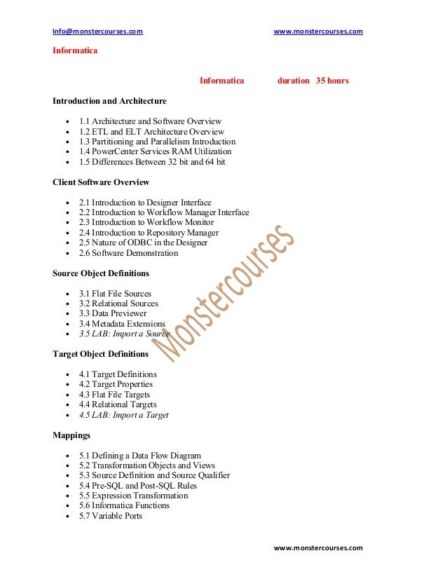Info@monstercourses.com                                 www.monstercourses.comInformatica                                 ...