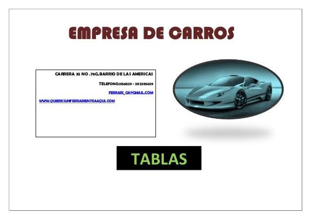 EMPRESA DE CARROS TABLAS CARRERA 35 NO .76G.BARRIO DE LAS AMERICAS TELEFONO:3156829 - 3112595639 FERRARI_GX@GMAIL.COM WWW....