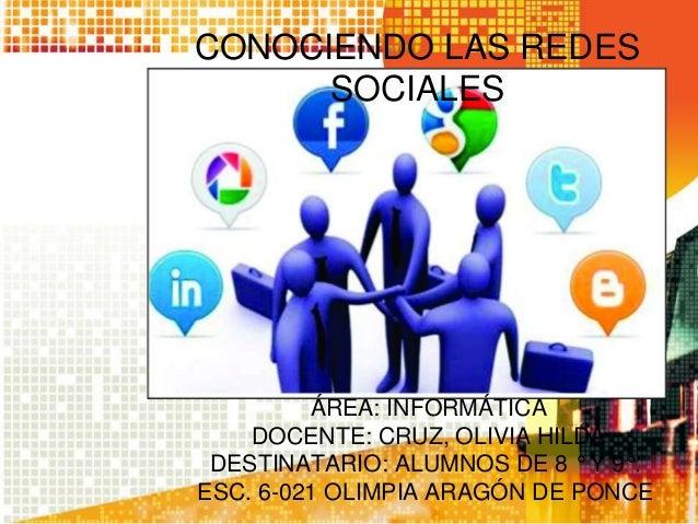 CONOCIENDO LAS REDES SOCIALES  ÁREA: INFORMÁTICA DOCENTE: CRUZ, OLIVIA HILDA DESTINATARIO: ALUMNOS DE 8 ° Y 9°. ESC. 6-021...