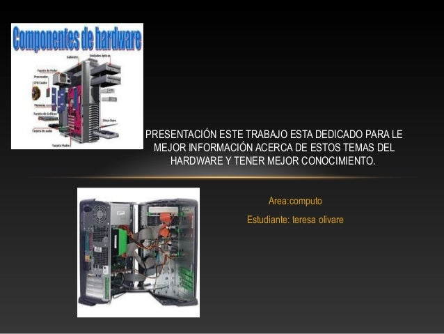 PRESENTACIÓN ESTE TRABAJO ESTA DEDICADO PARA LE  MEJOR INFORMACIÓN ACERCA DE ESTOS TEMAS DEL  HARDWARE Y TENER MEJOR CONOC...