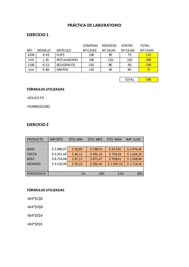 PRÁCTICA DE LABORATORIO EJERCICIO 1 FÓRMULAS UTILIZADAS =D3+E3-F3 =SUMA(G3:G6) EJERCICIO 2 FÓRMULAS UTILIZADAS =B4*$C$9 =B...