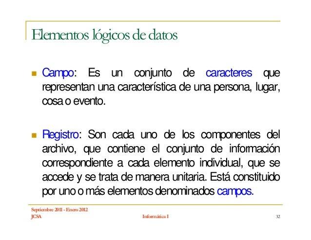 Elementos lógicos de datos     Campo: Es un conjunto de caracteres que     representan una característica de una persona, ...