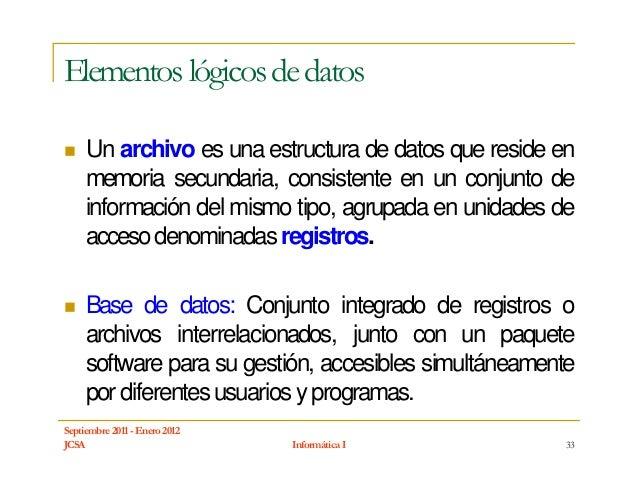 Elementos lógicos de datos     Un archivo es una estructura de datos que reside en     memoria secundaria, consistente en ...