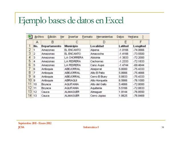 Ejemplo bases de datos en ExcelSeptiembre 2011 - Enero 2012JCSA                           Informática I   34
