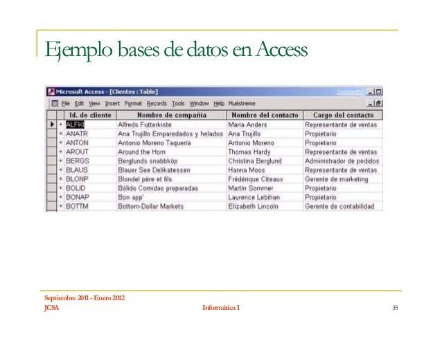 Ejemplo bases de datos en AccessSeptiembre 2011 - Enero 2012JCSA                           Informática I   35