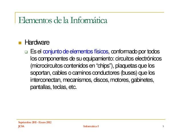 Elementos de la Informática     Hardware          Es el conjunto de elementos físicos, conformado por todos          los c...
