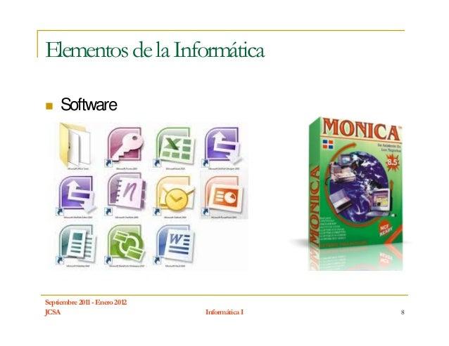 Elementos de la Informática     SoftwareSeptiembre 2011 - Enero 2012JCSA                           Informática I   8