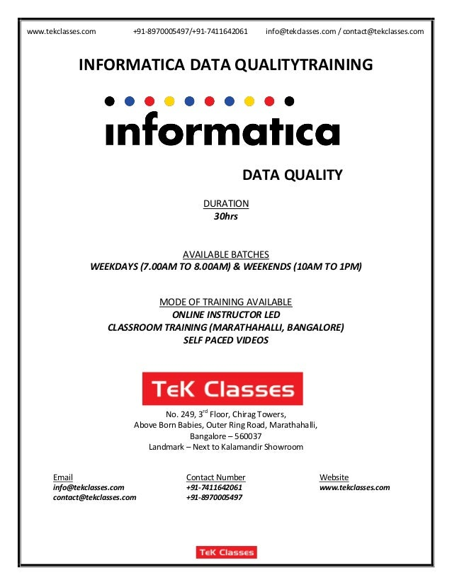 Informatica data-quality course content, informatica data quality tra…
