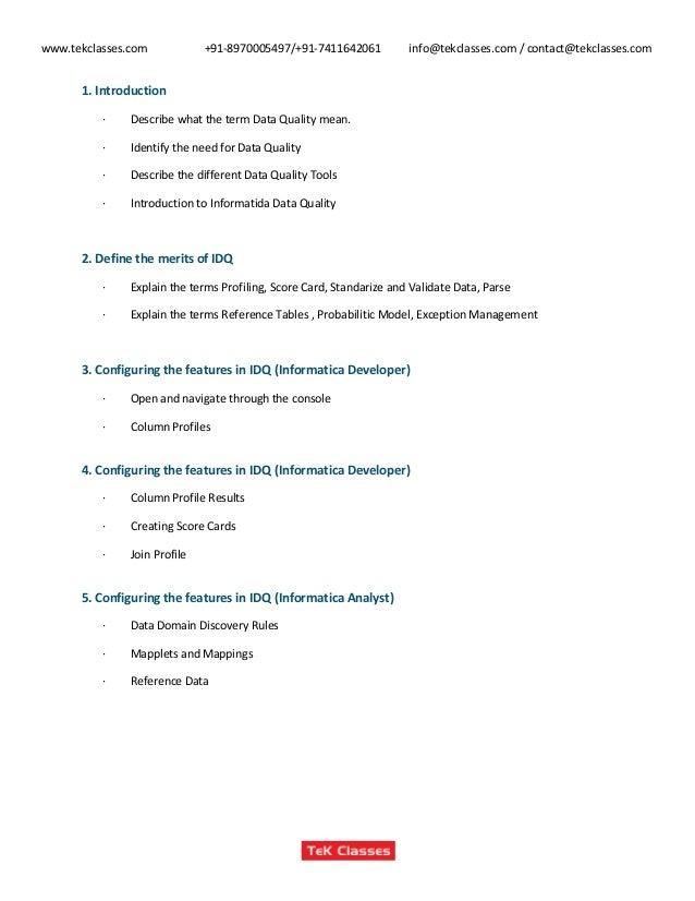 Informatica data-quality course content, informatica data quality tra…