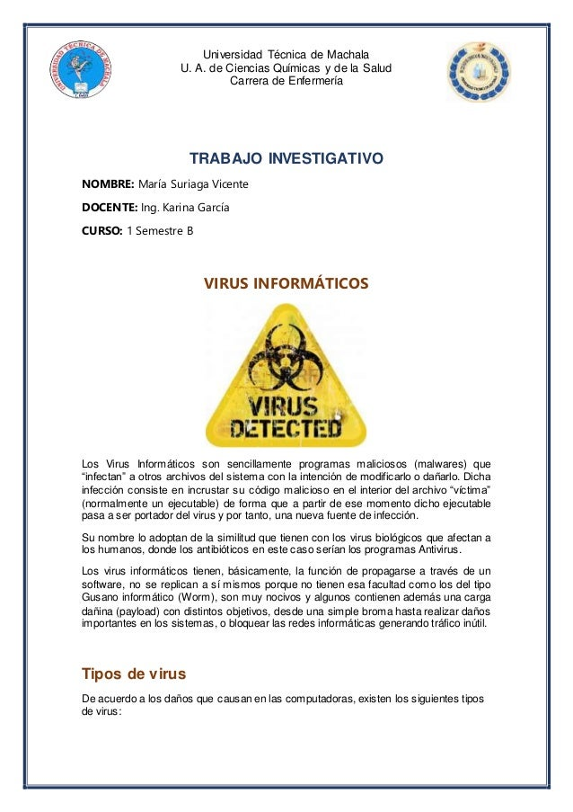 Universidad Técnica de Machala U. A. de Ciencias Químicas y de la Salud Carrera de Enfermería TRABAJO INVESTIGATIVO NOMBRE...