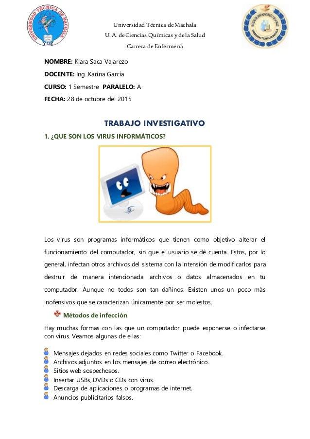 Universidad Técnica deMachala U.A. deCiencias Químicas ydela Salud Carrera deEnfermería NOMBRE: Kiara Saca Valarezo DOCENT...