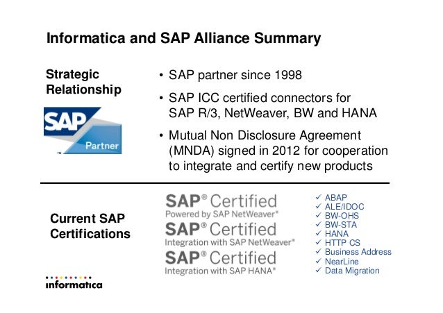 SAP HANA Data integration using Informatica