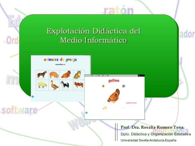 Explotación Didáctica delExplotación Didáctica del Medio InformáticoMedio Informático Prof. Dra. Rosalía Romero Tena. Dpto...