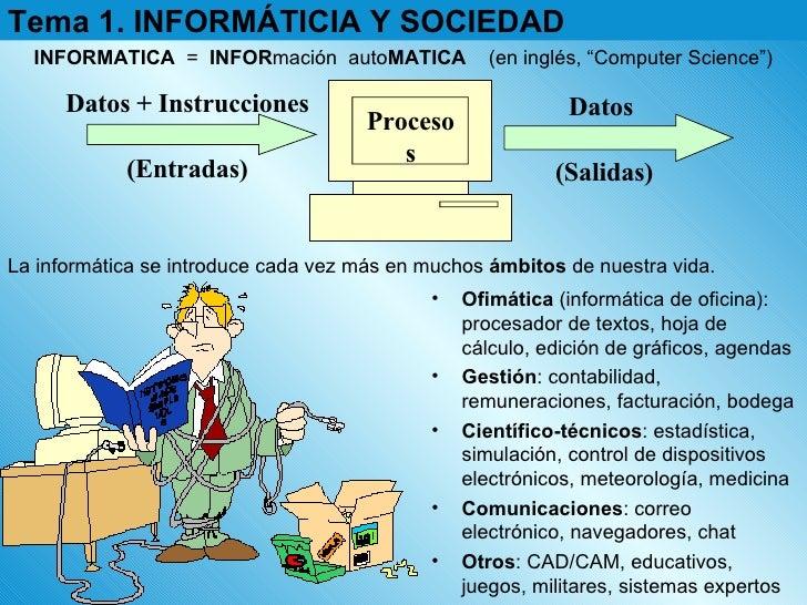 Tema 1. INFORMÁTICIA Y SOCIEDAD La informática se introduce cada vez más en muchos  ámbitos  de nuestra vida. INFORMATICA ...