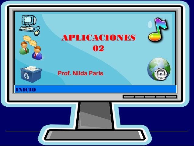 APLICACIONES 02 Prof. Nilda Paris INICIO