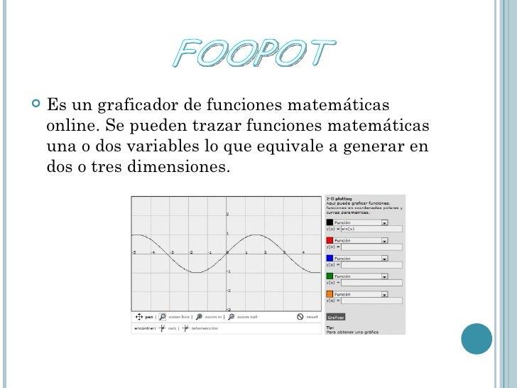 <ul><li>Es un graficador de funciones matemáticas online. Se pueden trazar funciones matemáticas una o dos variables lo qu...