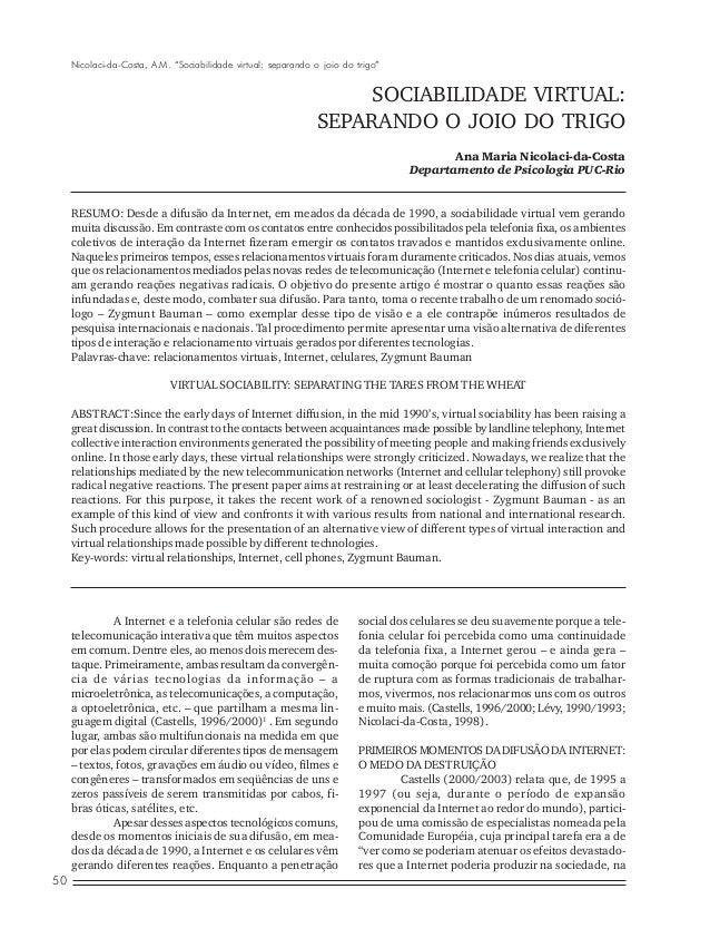 """Nicolaci-da-Costa, A.M. """"Sociabilidade virtual: separando o joio do trigo""""  SOCIABILIDADE VIRTUAL: SEPARANDO O JOIO DO TRI..."""