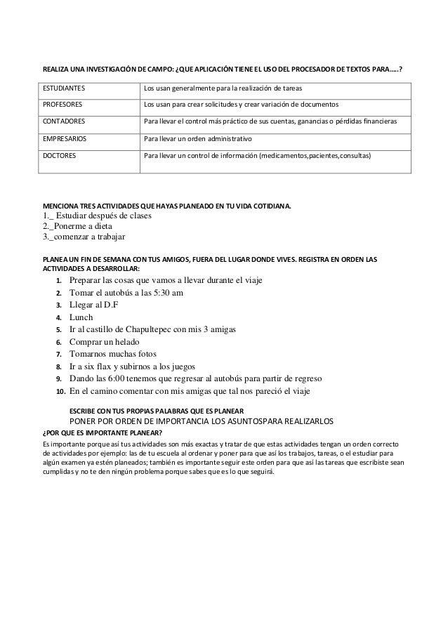 REALIZA UNA INVESTIGACIÓN DE CAMPO: ¿QUE APLICACIÓN TIENE EL USO DEL PROCESADOR DE TEXTOS PARA…..?ESTUDIANTES             ...