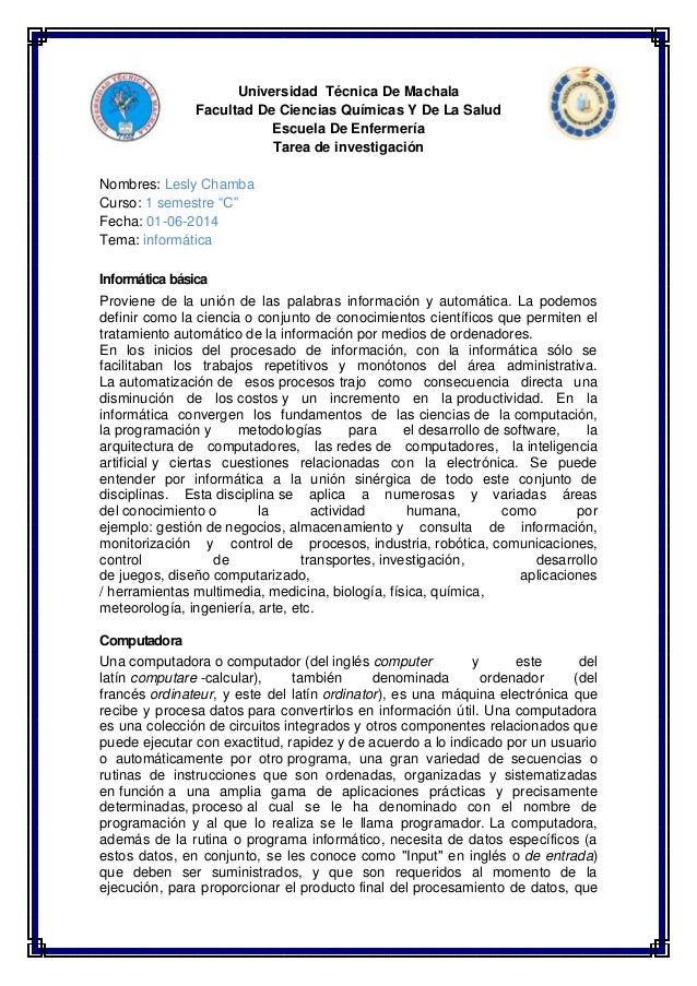 Universidad Técnica De Machala  Facultad De Ciencias Químicas Y De La Salud  Escuela De Enfermería  Tarea de investigación...